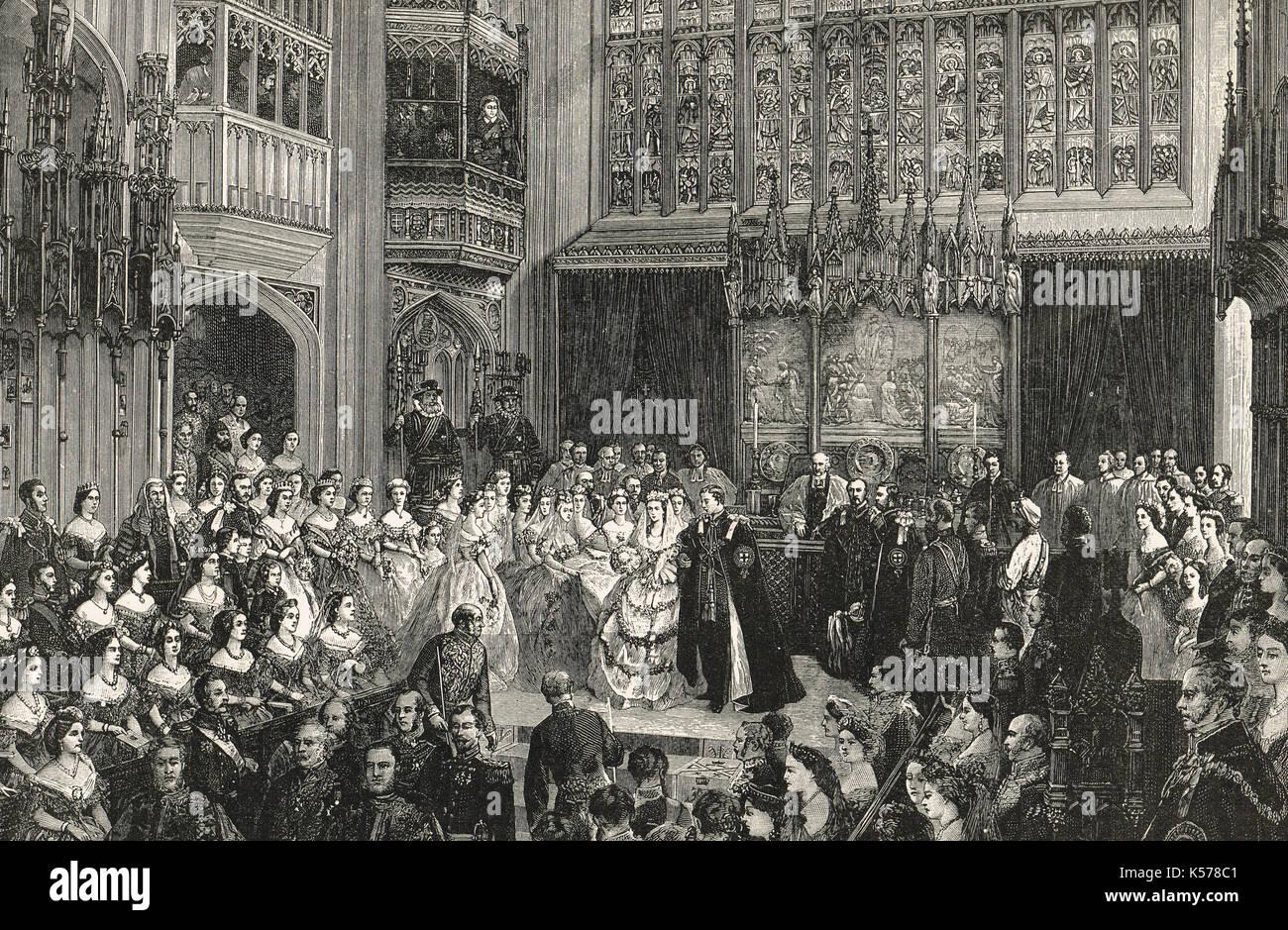 Il Matrimonio del principe del Galles (futuro Edoardo VII) a Alexandra della Danimarca, 10 marzo 1863. Immagini Stock