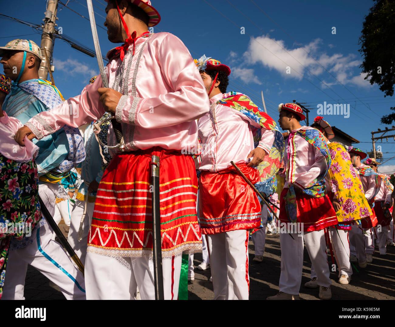 La festa religiosa di congada, da ilhabela, sp, Brasile Immagini Stock