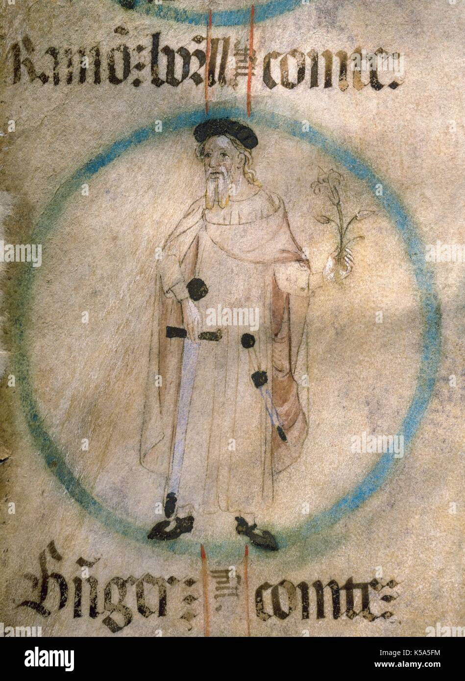 Ramon Borrell II (972-1017). Conte di Barcellona (992-1017), Girona e  Osona. Pergamena miniatura del XV secolo da Genealogia de los Reyes de  Aragon y Condes de Barcelona. Archivio della Abbazia di Poblet (