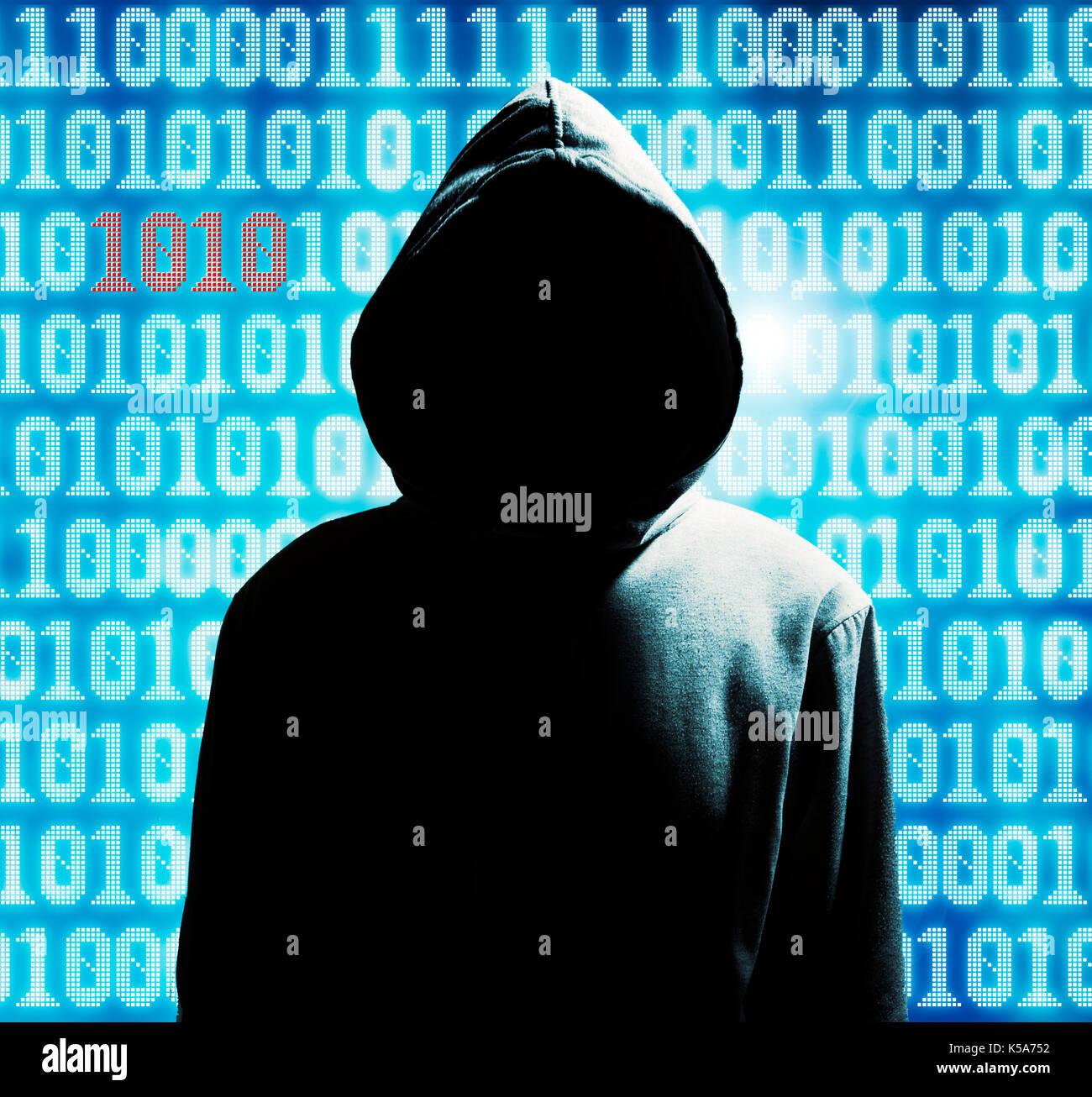 Hacker misterioso nel cofano Immagini Stock