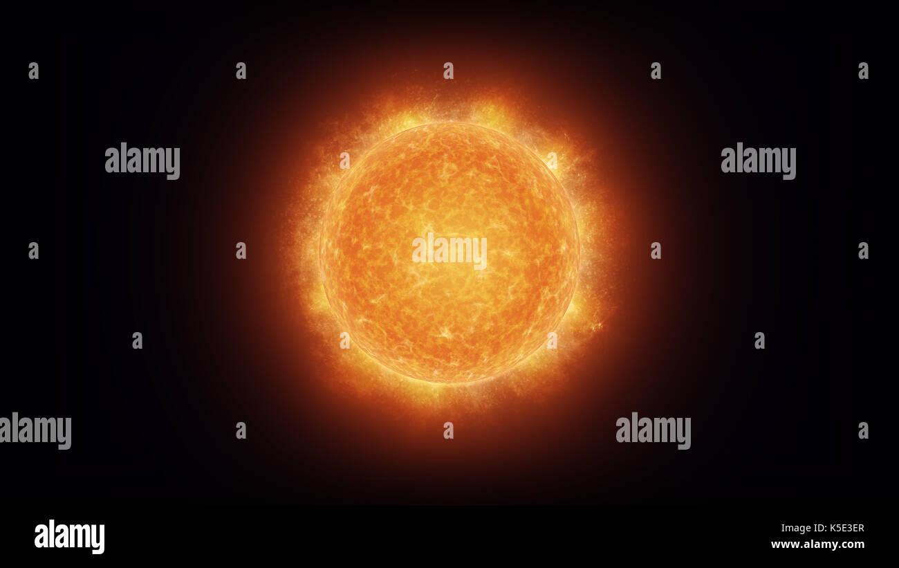 Close up di un luminoso sole bruciante con corona incandescente Immagini Stock