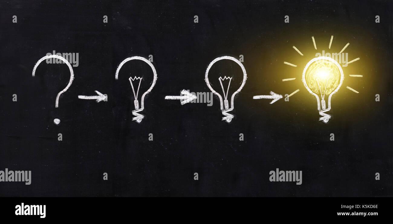 Bianco e nero lampadina della luce usando doodle arte sulla lavagna sfondo. concetto di processo di riflessione Foto Stock