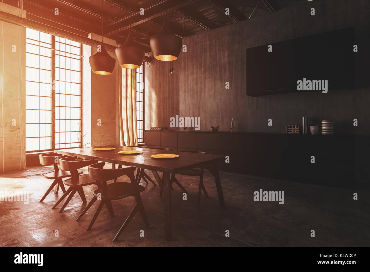 Sala da pranzo moderna interno con luci a soffitto illuminazione