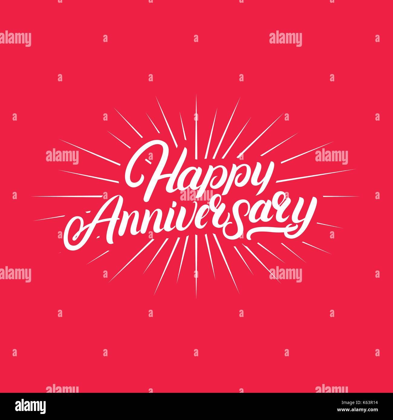 Buon Anniversario Scritto A Mano Lettering Calligrafia Pennello Per
