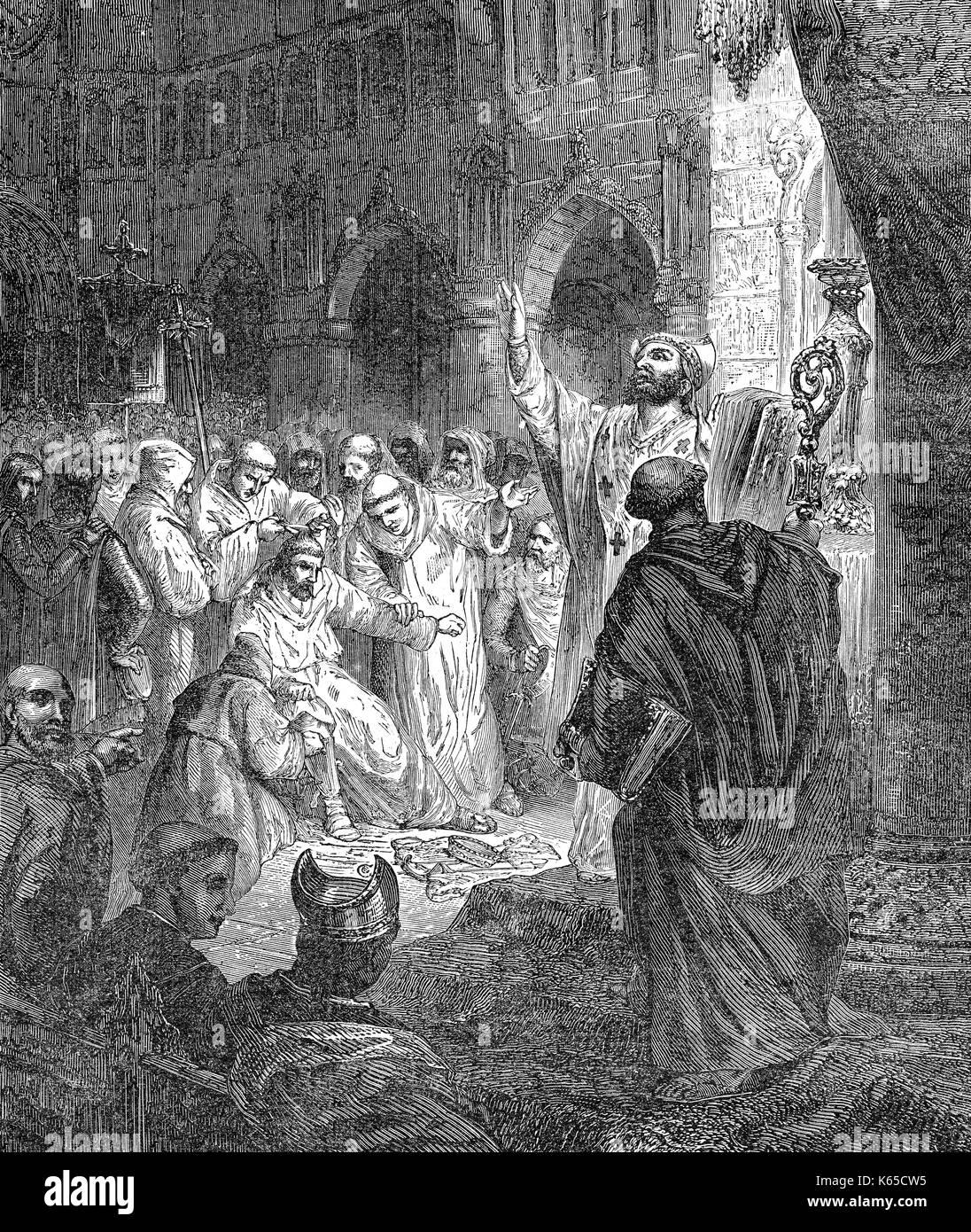 Childeric III, c. 717 - c. 754, Re di Francia, deposto nel monastero di Saint-Bertin, 751 Immagini Stock