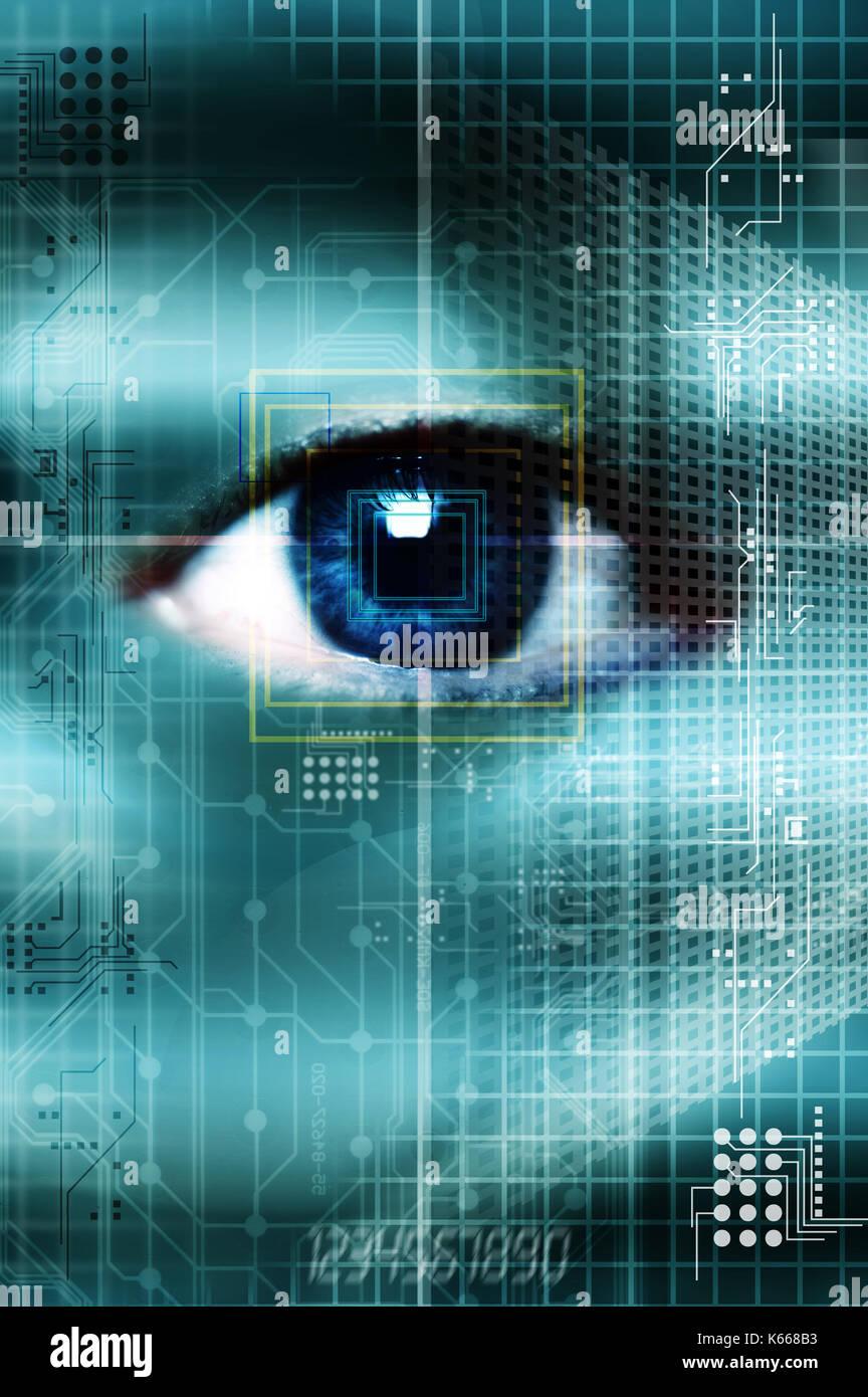 Occhio biometrici scansione, verifica identità concetto Immagini Stock