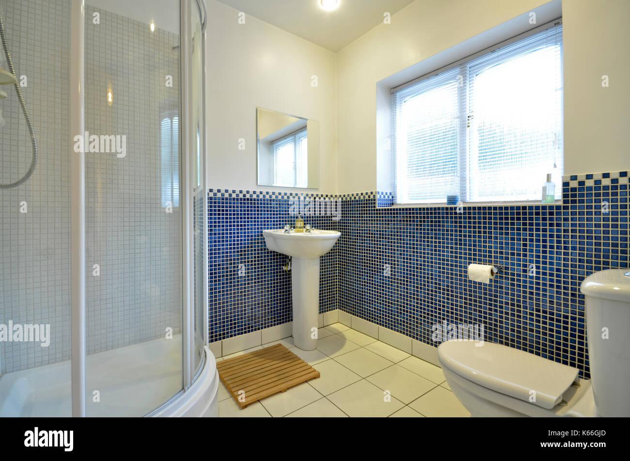 Bagno con doccia con nero blu di piastrelle a mosaico foto