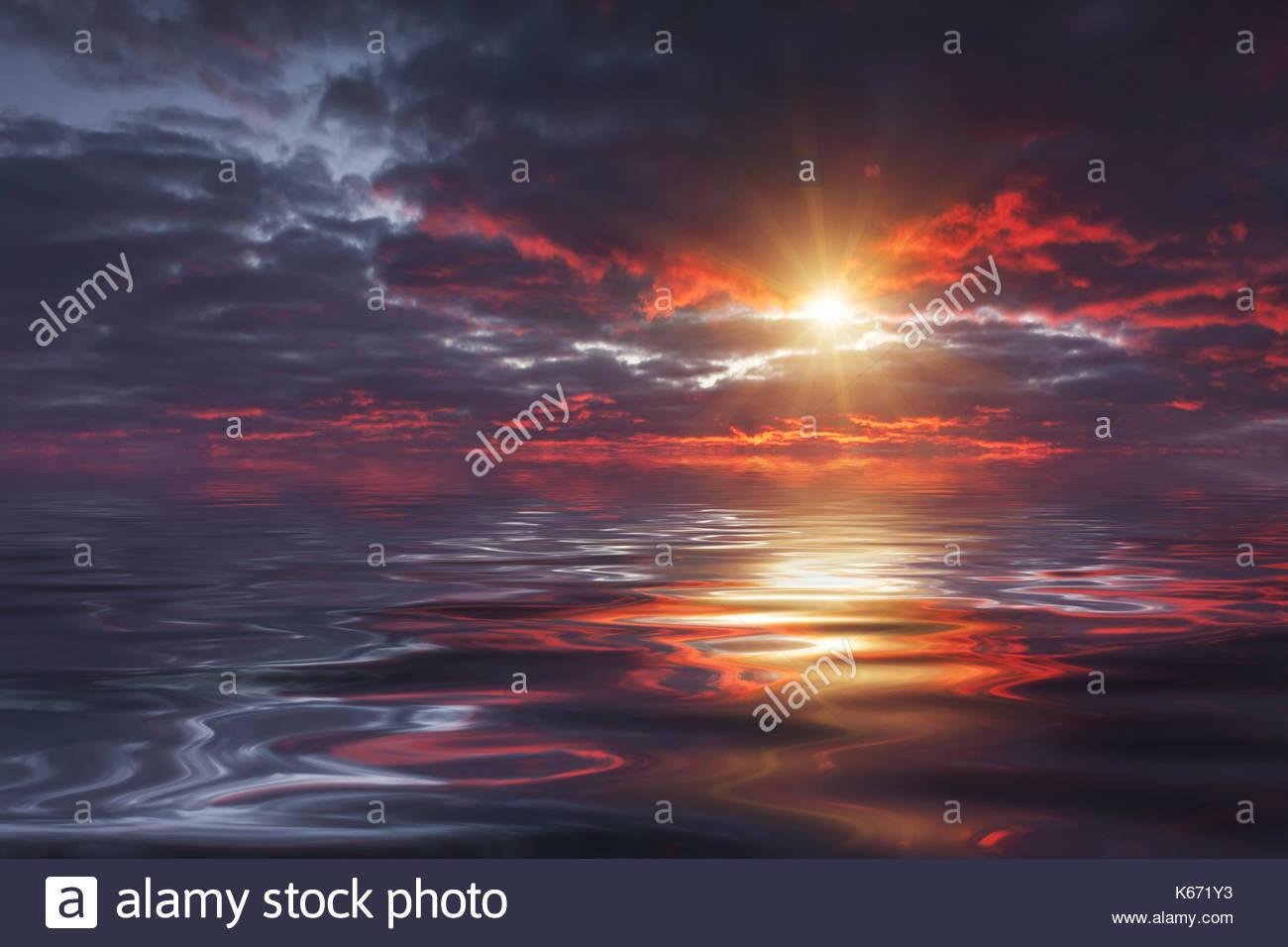La riflessione di un bel Cielo di tramonto in acqua Immagini Stock