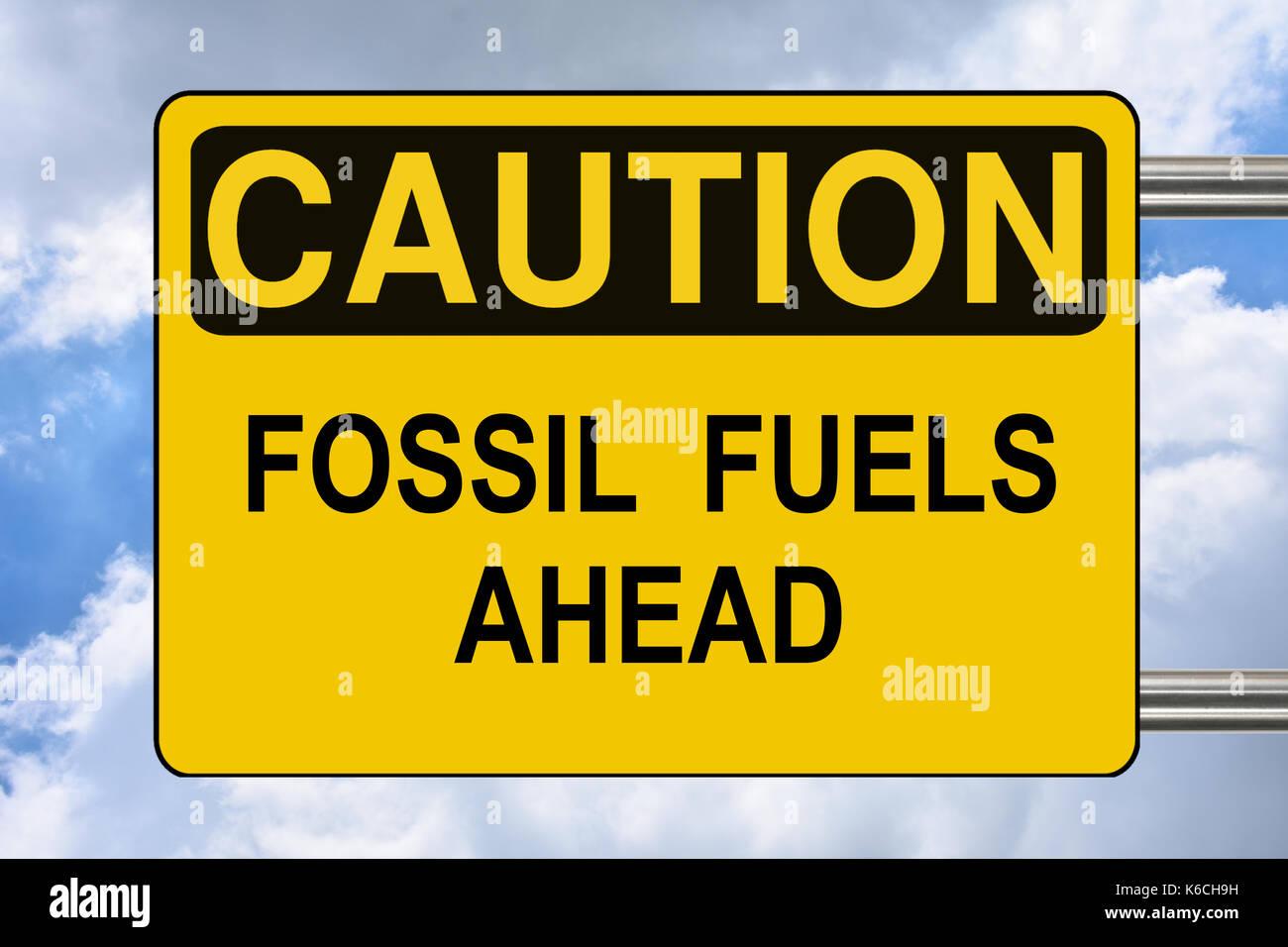 Combustibile fossile in anticipo, giallo di avvertimento cartello stradale Immagini Stock