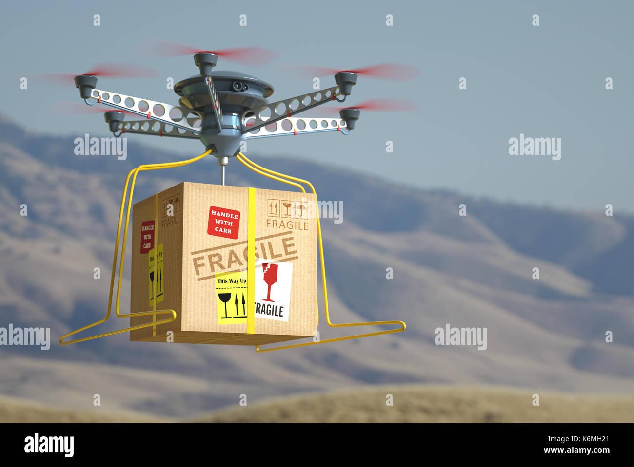 La consegna di pacchi via drone. Il futuro della posta. Immagini Stock