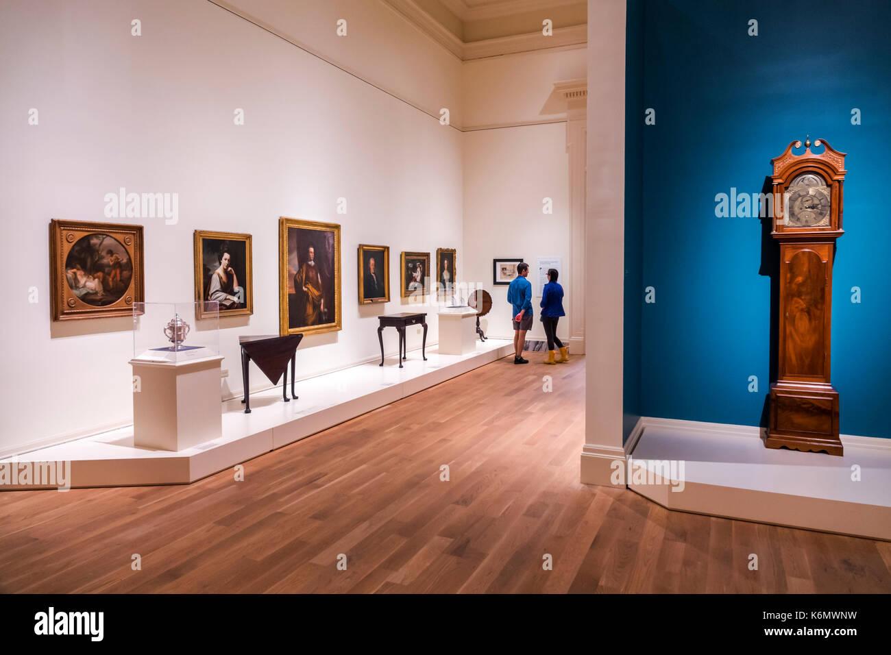 Charleston South Carolina SC Centro Storico Gibbes Museum of Art presentano interni arredamento galleria Immagini Stock
