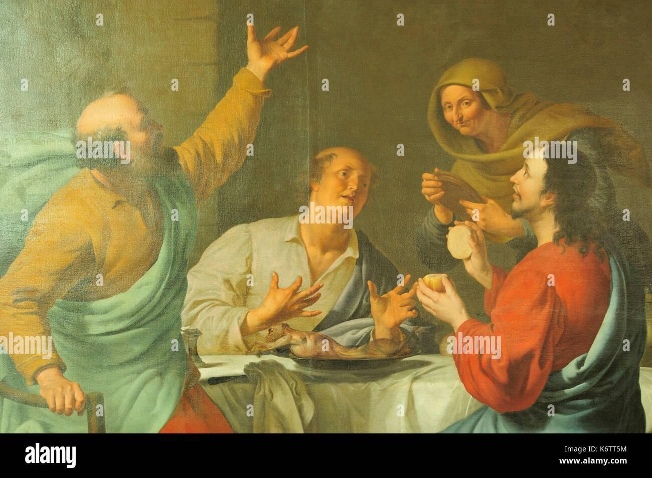 Francia, Nord, Saint Amand les Eaux, museo della Torre Abbey, pittura ad olio su tela intitolata i pellegrini di Emmaus da Aelbert Jansz Van der Schoor e dipinte in 1680 Immagini Stock