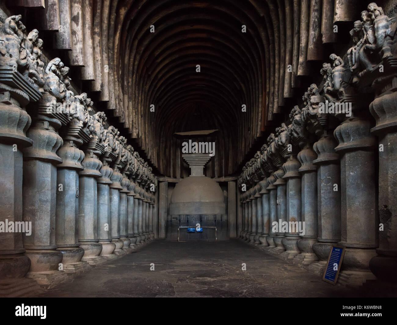 Chaityagriha principale, Karla, Maharashtra, India Immagini Stock
