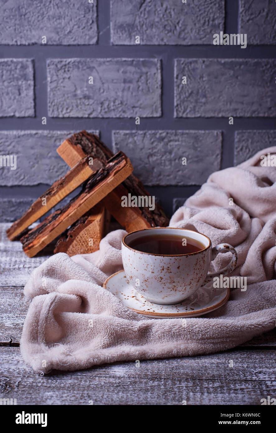Caffè e wrap, confortevole scandinavo interni home Immagini Stock