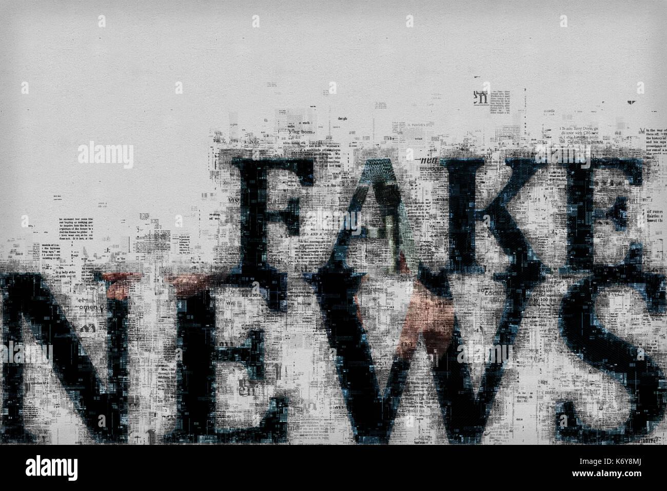 Fake news concept, illustrazione grafica con lettere e modelli Immagini Stock