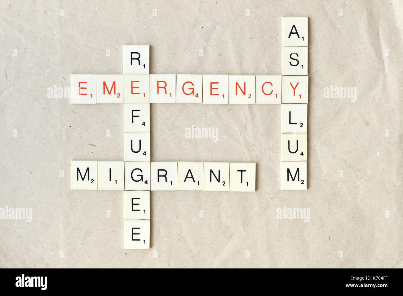 Immigrazione e dei rifugiati e di concetto di asilo - Questioni sociali Immagini Stock