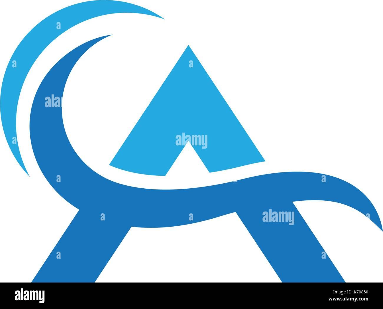 Acqua logo a forma di onda modello illustrazione vettoriale design Illustrazione Vettoriale
