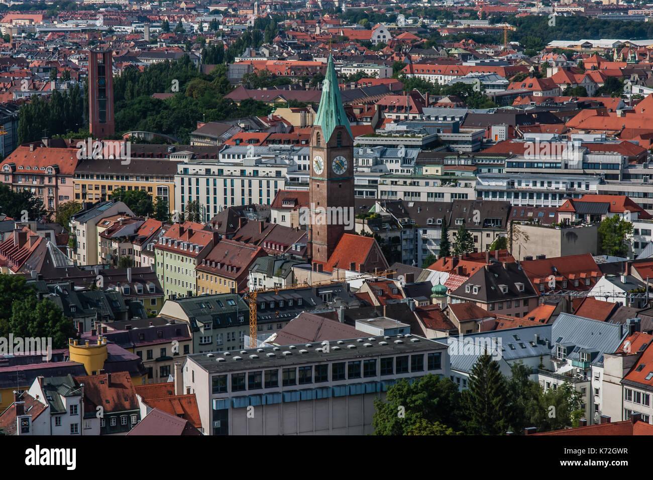 La città di Monaco di Baviera, una vista dalla Frauenkirche Immagini Stock