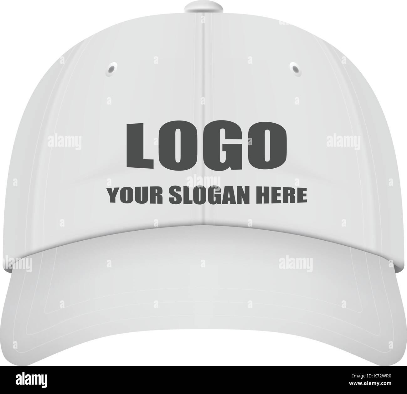 Realistico vista frontale bianco berretto da baseball con logo isolato su  uno sfondo bianco. illustrazione vettoriale. 10fcbe771756