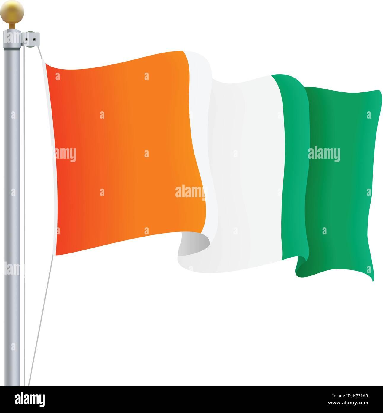 Sventolando Costa D Avorio Bandiera Isolata Su Uno Sfondo Bianco