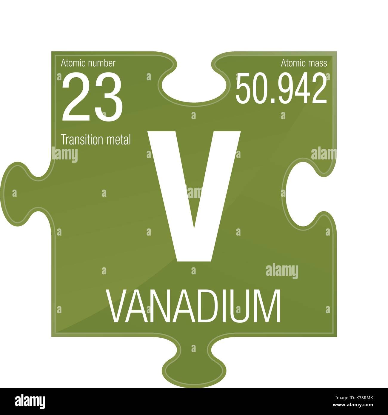 simbolo-di-vanadio-elemento-numero-23-de
