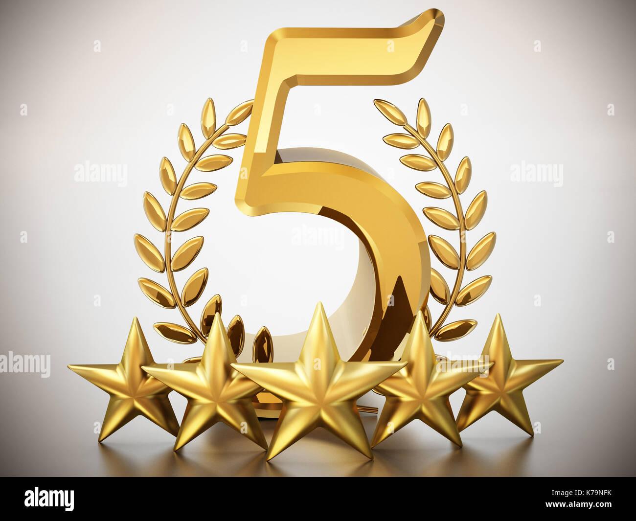 Numero 5, stelle e allori isolati su sfondo bianco. 3d'illustrazione. Immagini Stock