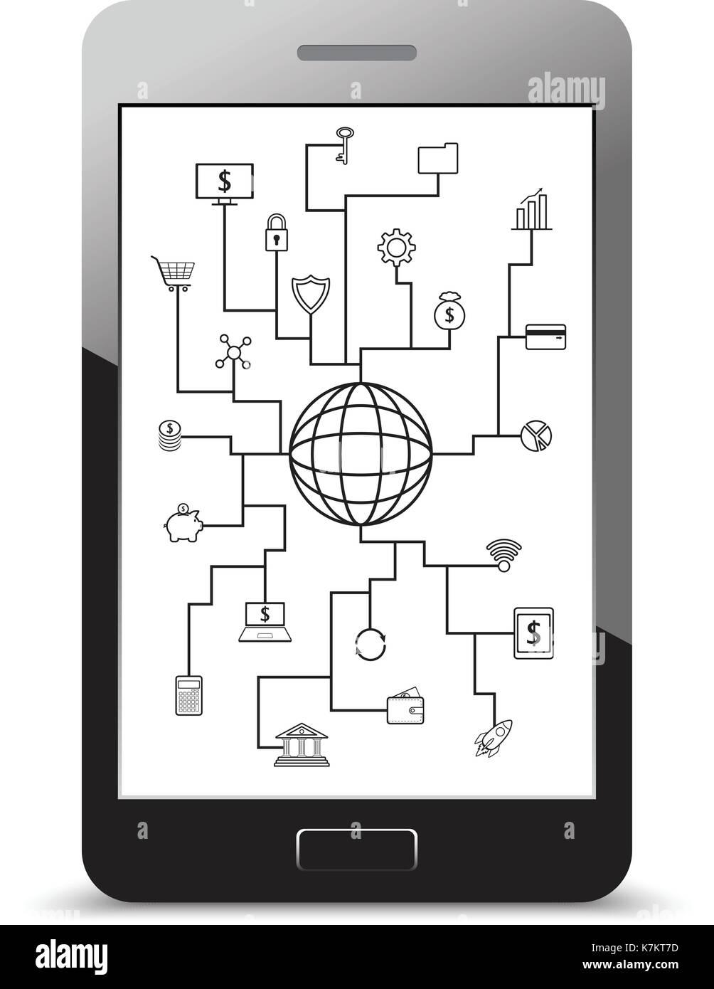Vettore di linea di fintech icone intorno a un globo sulla tecnologia finanziario, bancario e degli investimenti con sfondo bianco su un realistico lo schermo dello smartphone Immagini Stock