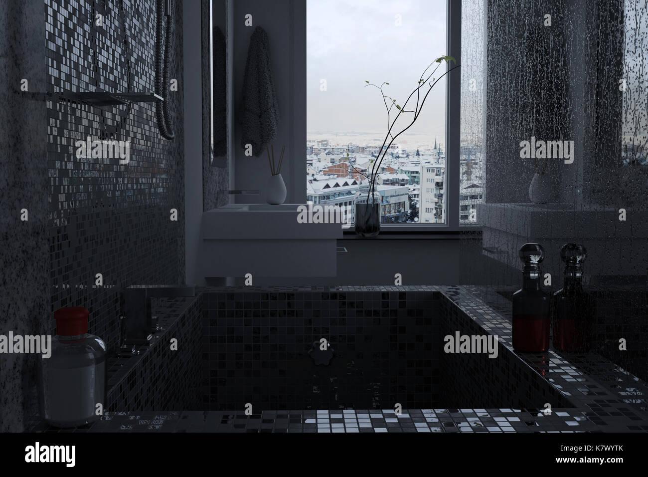 3d rendering di lussuose stanze da bagno con piastrelle a mosaico