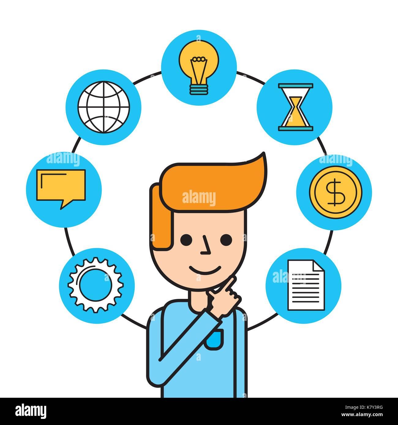L'uomo creatività pensare lavorare denaro messaggio globale Immagini Stock