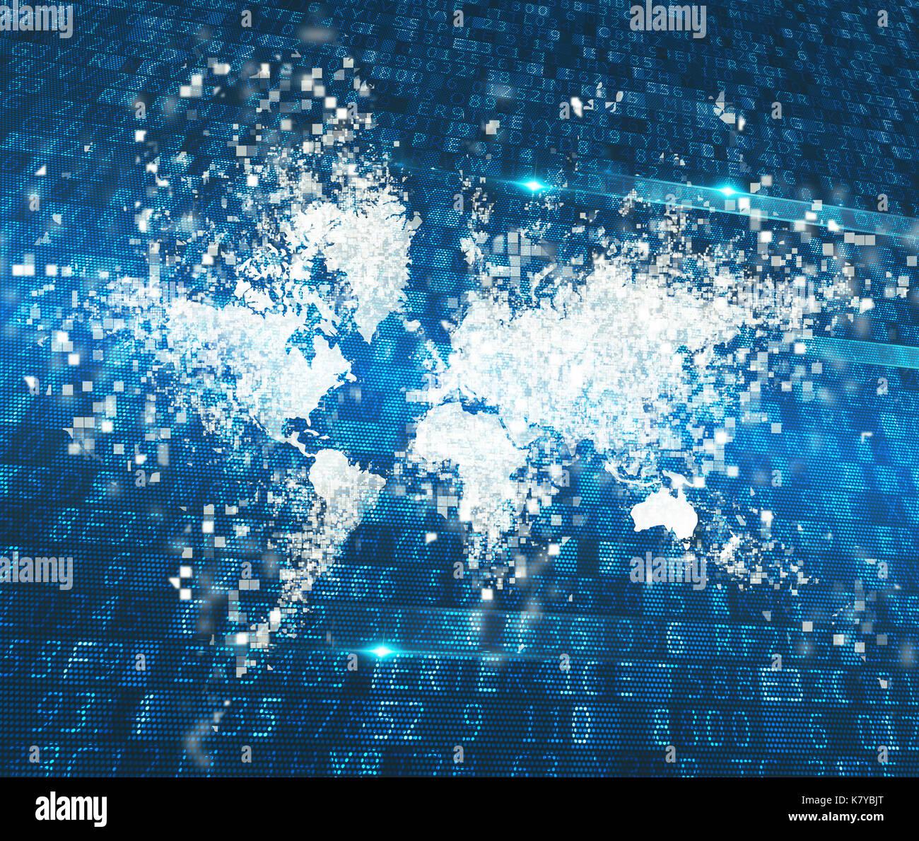 Mondo astratto. concetto globale di connessione a internet Immagini Stock