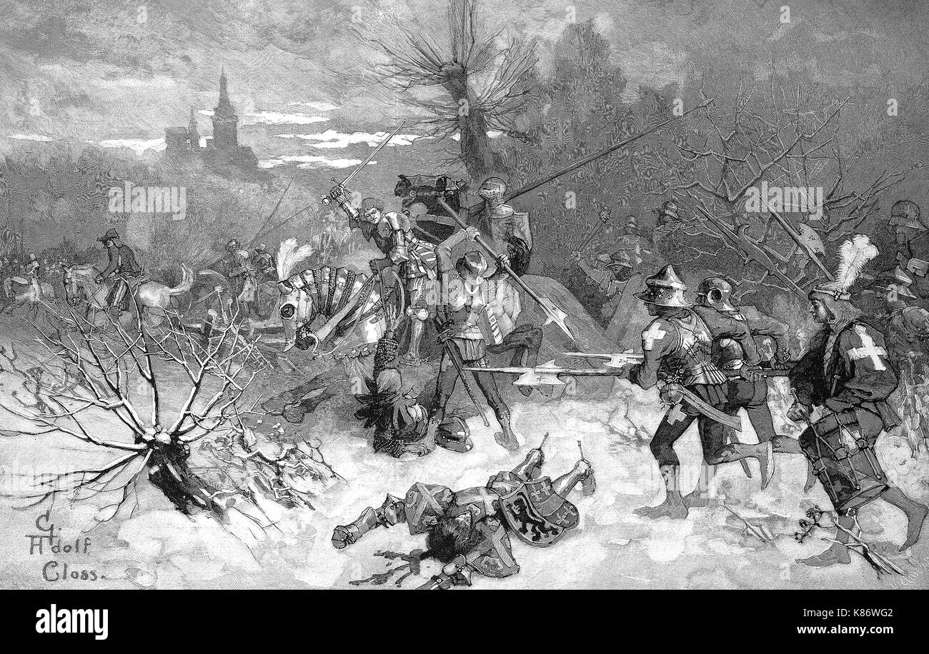 Battaglia di Nancy, la fase finale e decisiva battaglia delle guerre dei duchi di Borgogna, la fuga di Carlo il Temerario, digitale migliorata la riproduzione di un originale woodprint dal XIX secolo Immagini Stock