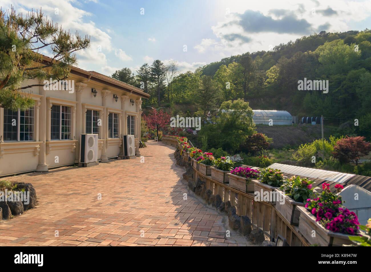Terrazza con aiuole di fiori Foto & Immagine Stock: 160011485 - Alamy