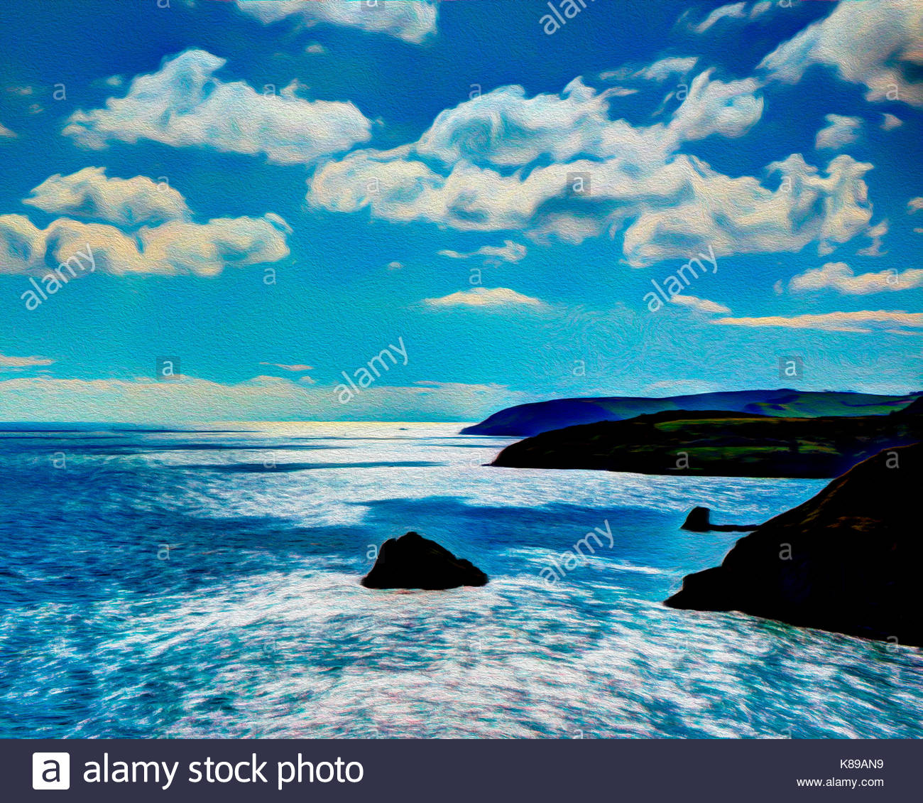 Arte digitale: West Country costa visto da di Berry Head vicino a Brixham, Devon, Gran Bretagna Immagini Stock