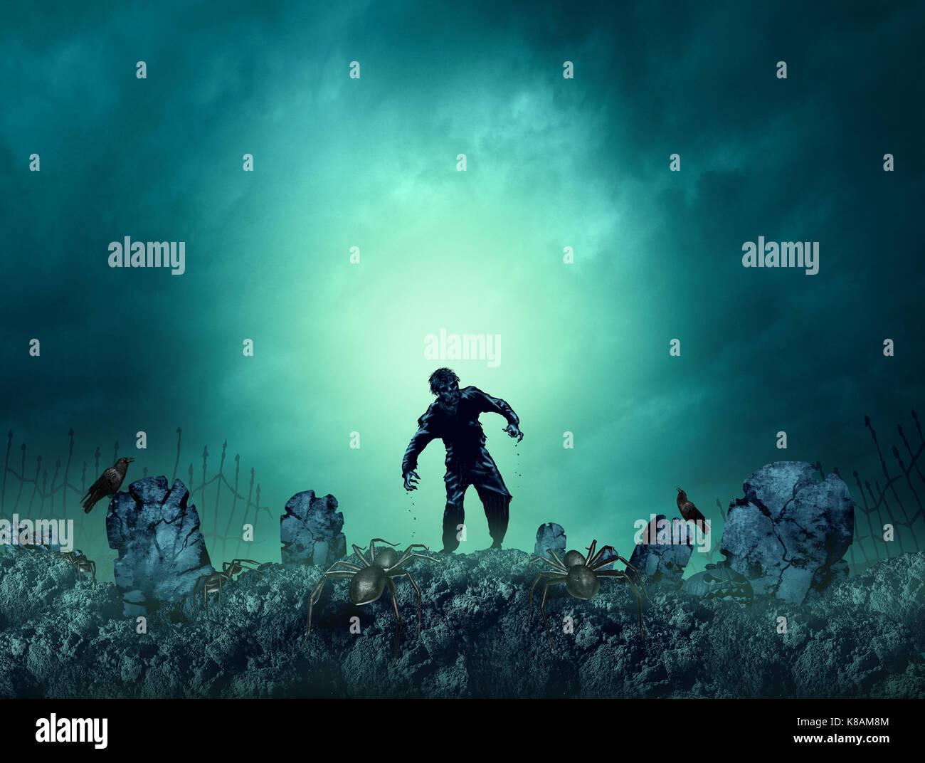 Tomba di zombie halloween background come creepy mostro a piedi in un'area vuota per il testo come un morto Immagini Stock