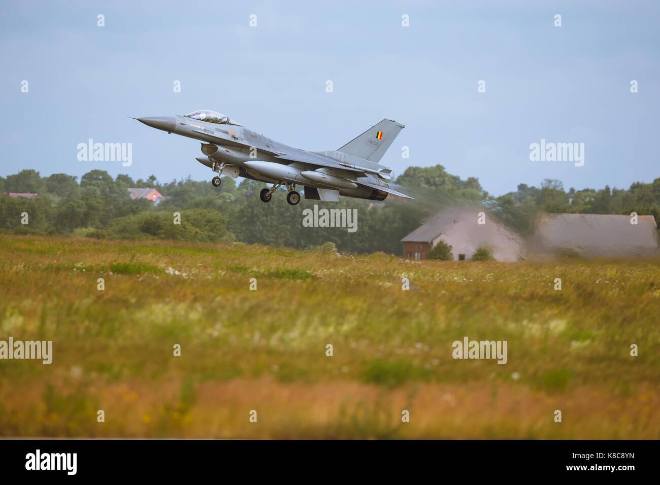General Dynamics F-16 Fighting Falcon presso la NATO Tiger Meet 2014 Immagini Stock