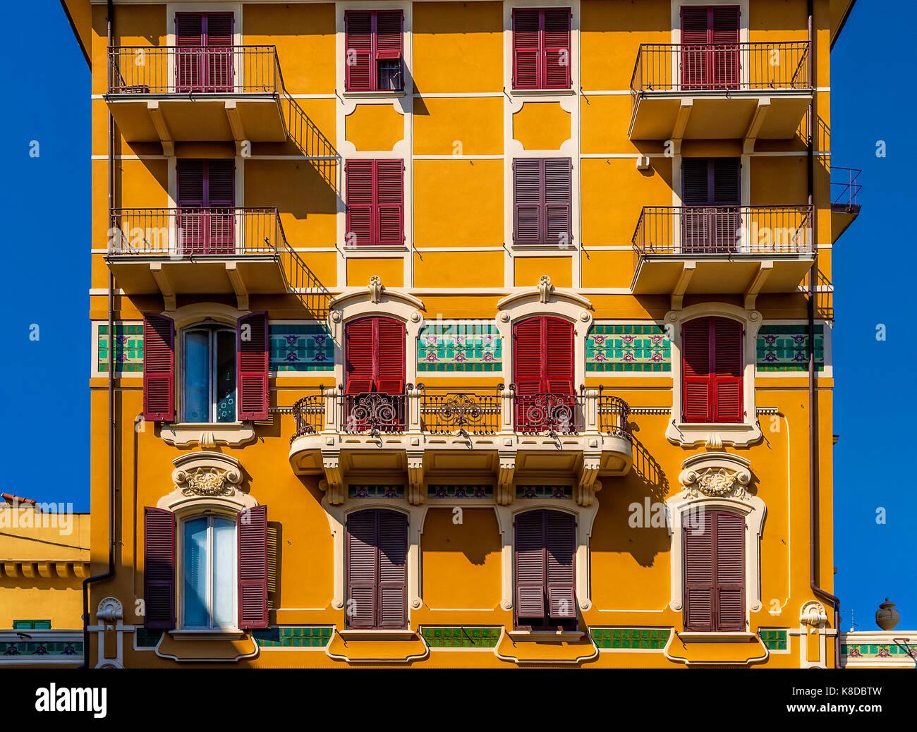 Italia liguria chiavari - piazza Roma - casa stile liberty Immagini Stock