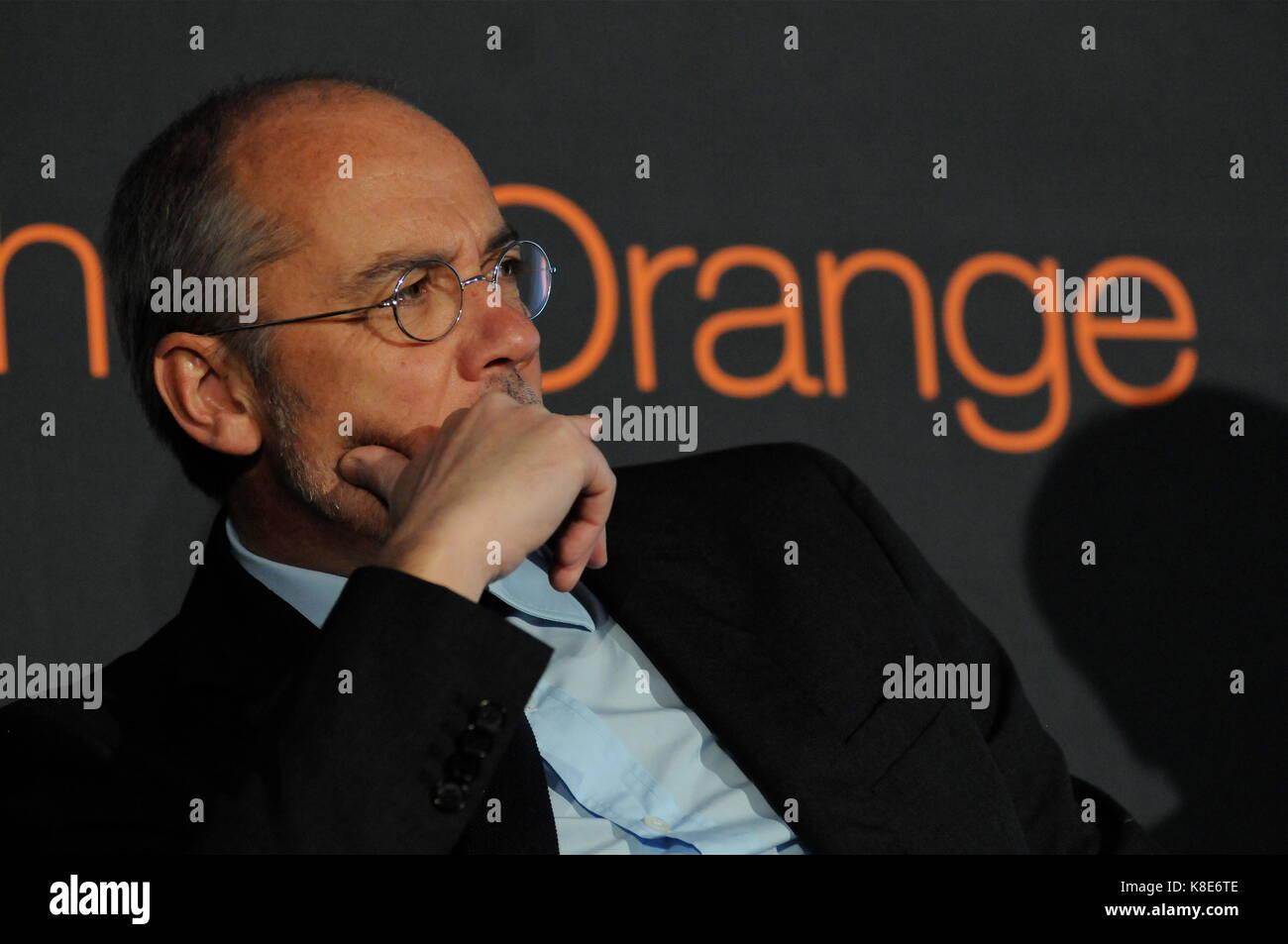 Stephane richard, CEO di orange azienda di telecomunicazioni Partecipa a conferenza a villeurbanne, Francia Immagini Stock