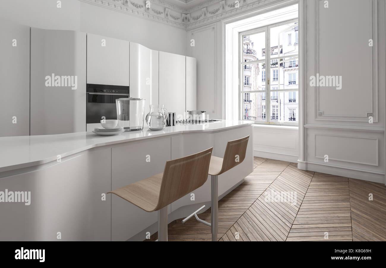 Bianco fresca cucina a pianta aperta in un appartamento con un