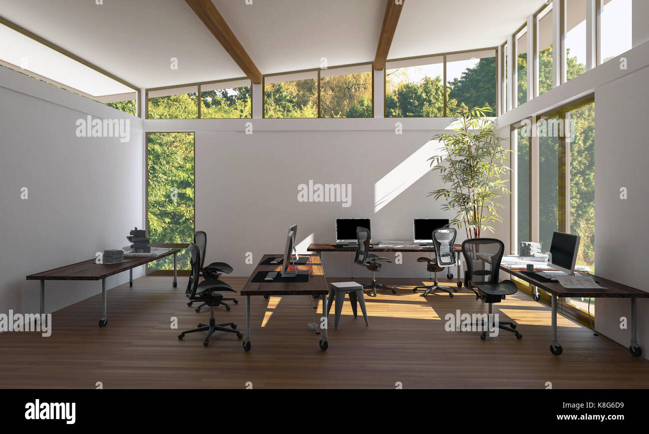 Ufficio Stile Moderno : Un moderno luminoso vuoto eco ufficio stile area di lavoro con