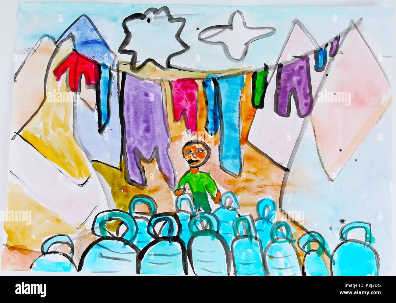 Rifugiato siriano bambino disegna la vernice sulla vita quotidiana di camp / insediamento informale. bambino disegno Immagini Stock