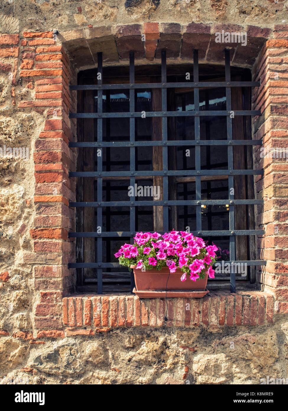 La facciata in stile rustico con finestra griglia e un for Finestra con fiori disegno