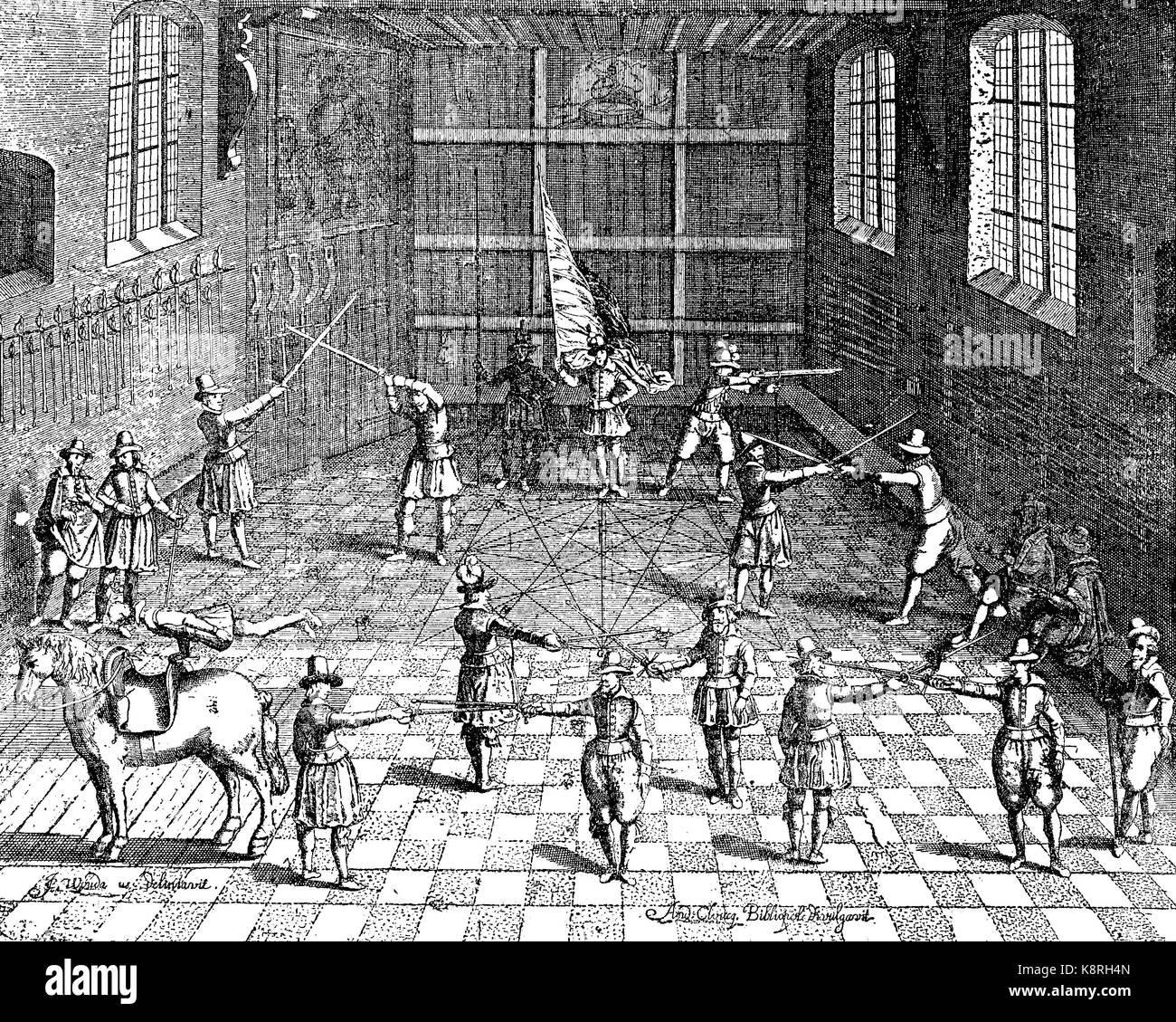 Gli studenti di scherma, Università di Leiden, Olanda, Fechtübungen der Studenten in Leiden, 1610, digital Immagini Stock
