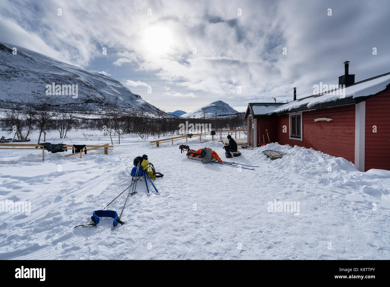 Sci alpinismo in abisko national park, Svezia, Europa Immagini Stock