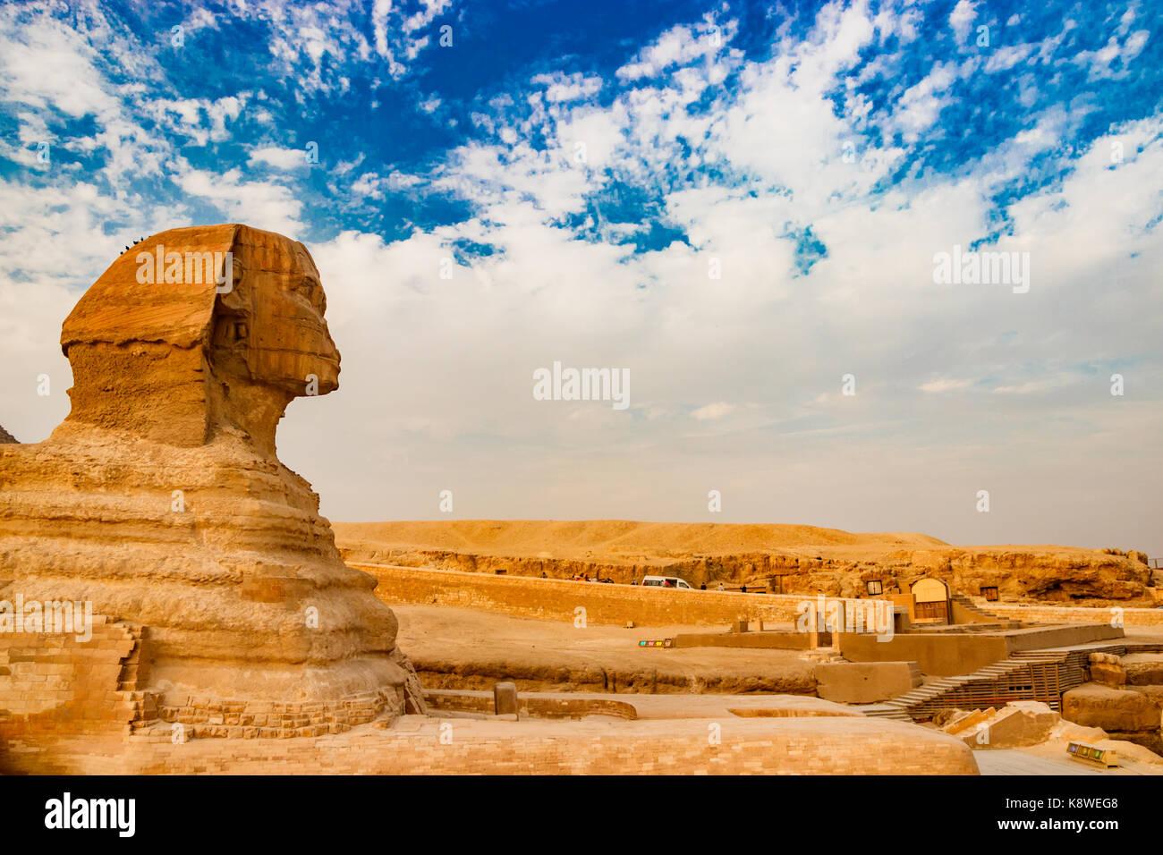 Sphinx vicino alle piramidi di Giza. Il cairo, Egitto Immagini Stock