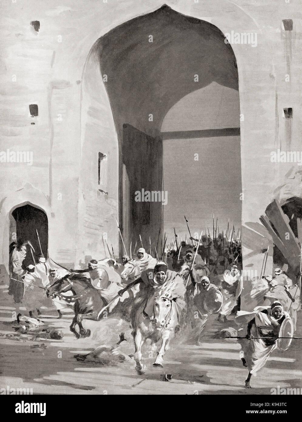 La conquista araba della città fortificata di Laodicea, aka laodicea in Siria o laodicea annuncio mare, nel Immagini Stock