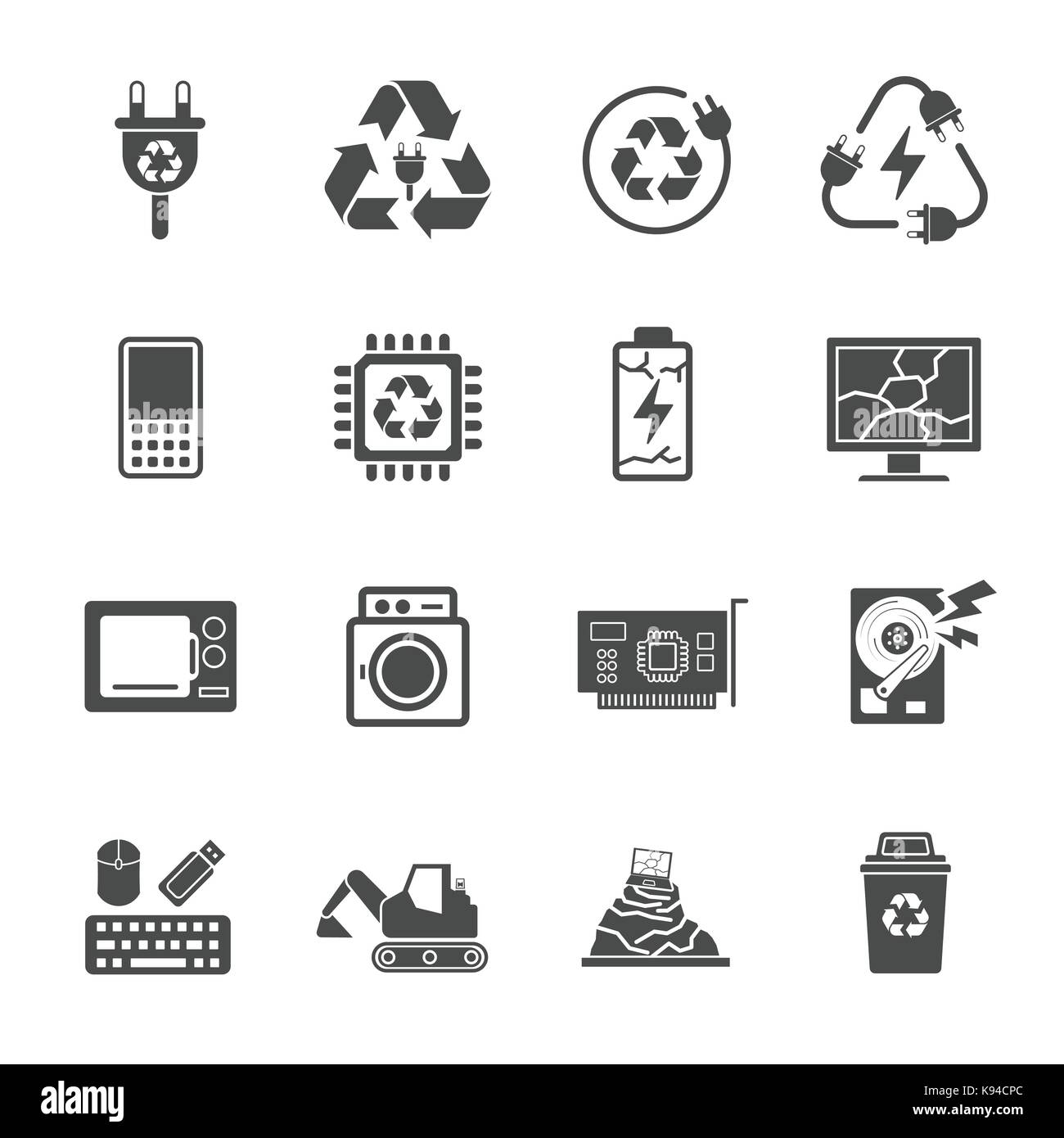 Il riciclaggio di rifiuti elettronici Rifiuti, contiene le icone come rifiuti elettronici, monitor, telefono, batteria Immagini Stock