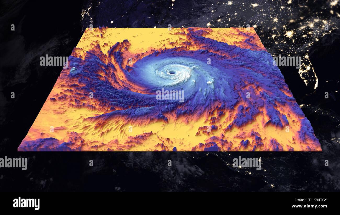 Uragano maria. immagine termica. elementi di questa immagine fornita dalla NASA Immagini Stock