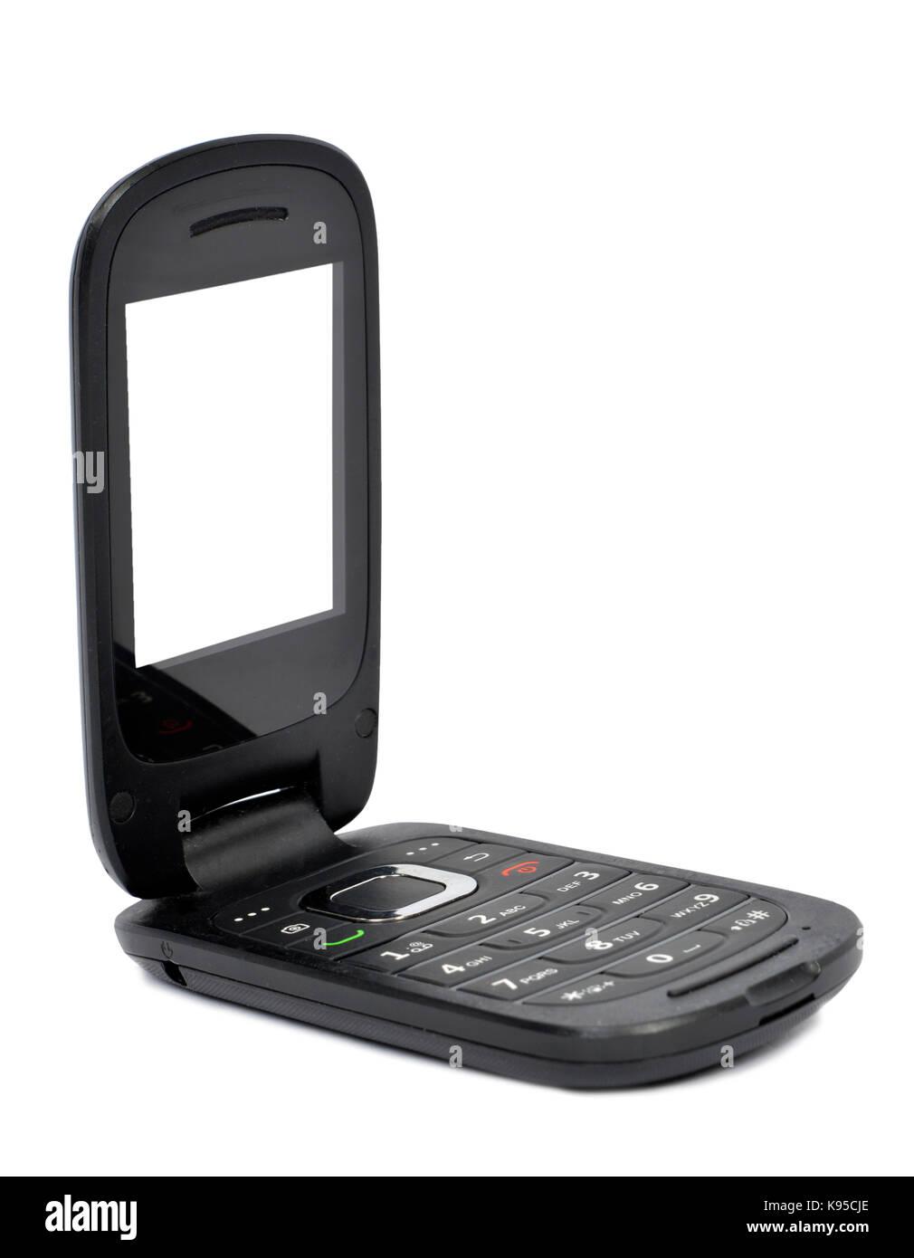 Colpo Verticale Di Un Aperto Flip Phone Su Uno Sfondo Bianco Lo