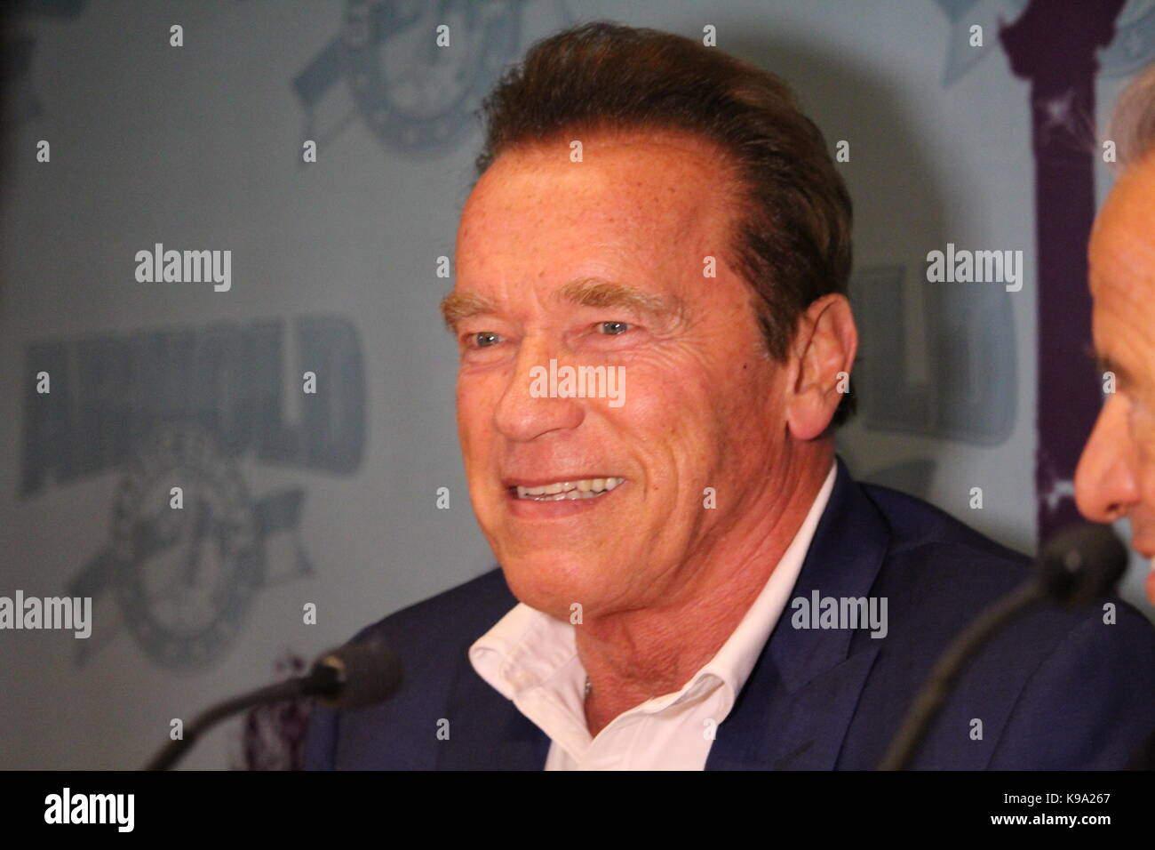 Barcellona, Spagna - 22 settembre 2017: l'attore ed ex governatore dello stato della California Arnold Schwarzenegger Immagini Stock