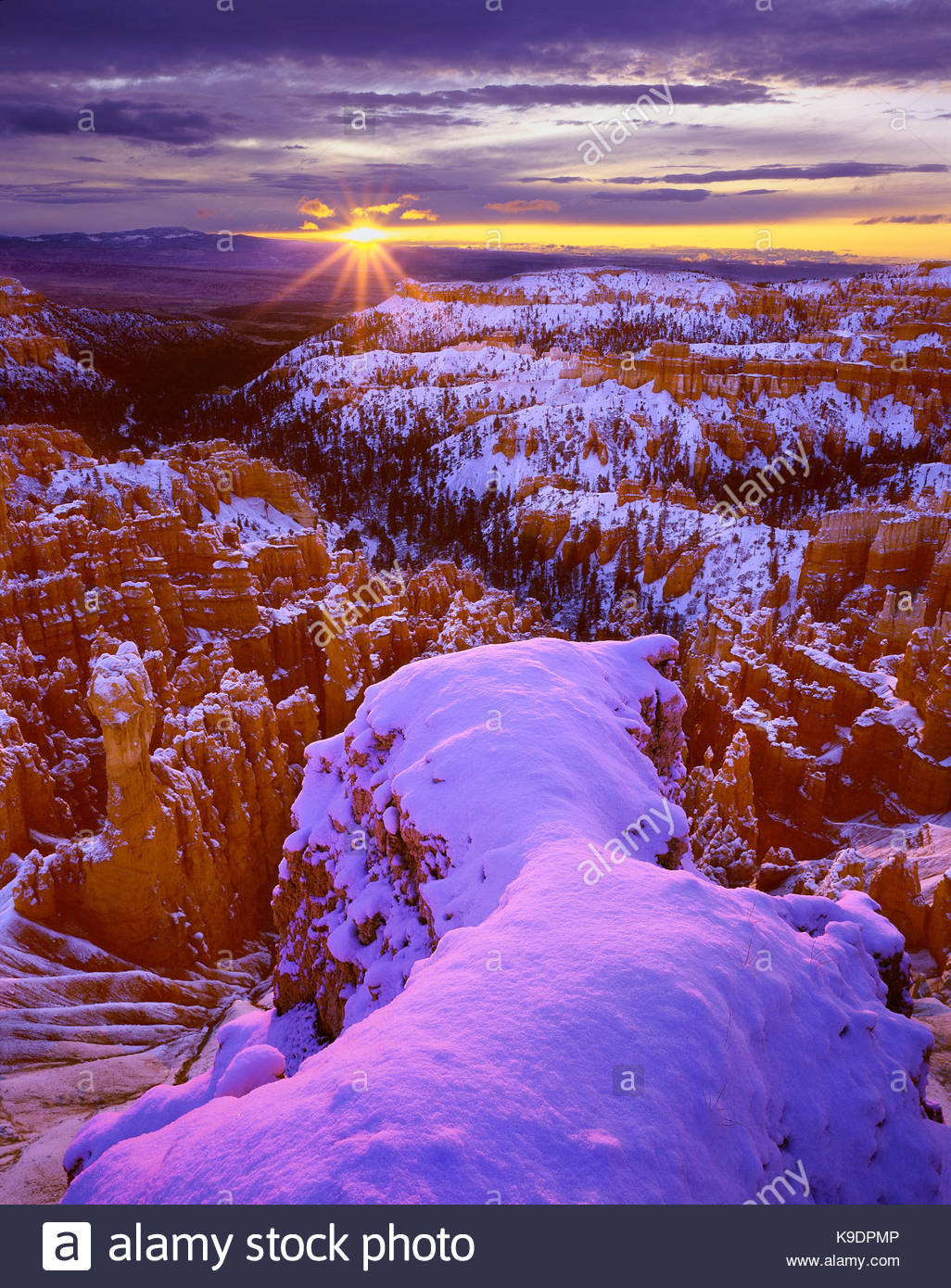 Sunrise vicino Inspiration Point, Parco Nazionale di Bryce Canyon, Utah Immagini Stock
